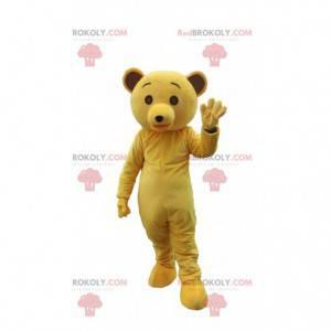 Maskot žlutý medvěd, plyšový kostým žlutého medvídka -