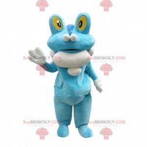 Froschmaskottchen, sehr seltsame blau-weiße Kreatur -