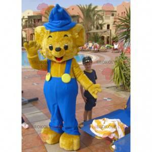 Beige teddy bear mascot overalls - Redbrokoly.com