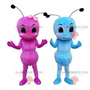 Maskoter av maur, en rosa og en blå, insektdrakt -