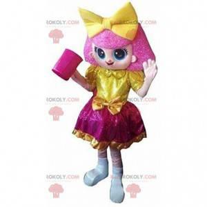 Růžová dívka maskot, barevný kostým dívka, růžové dítě -