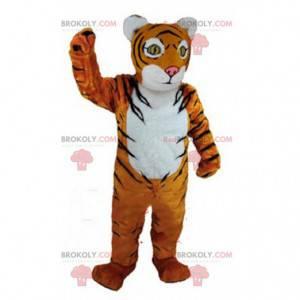 Orange, white and black tiger mascot, feline costume -