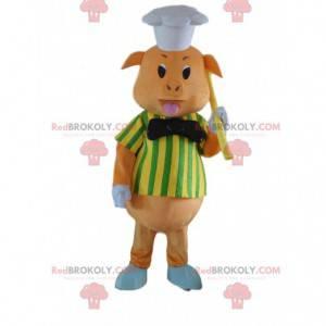 Gris maskot kledd som kokk, gris kostyme - Redbrokoly.com