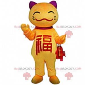 Maskot žluté kočky, kostým asijské kočky, asijský kostým -