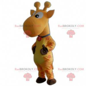 Mascote girafa amarela, fantasia de girafa, animal amarelo -