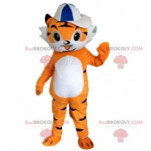 Mascot small orange and white tiger, orange feline costume -
