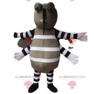 Gray mosquito mascot, flying insect costume, harmful -