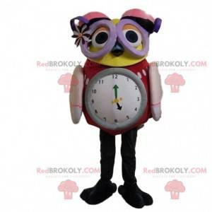 Ugle maskot med stor klokke og briller - Redbrokoly.com