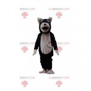 Schwarzes und graues Hundemaskottchen, Wolfskostüm, Wolfshund -