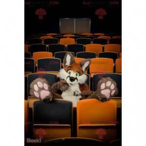 Chlupatý hnědý a bílý kočka maskot - Redbrokoly.com