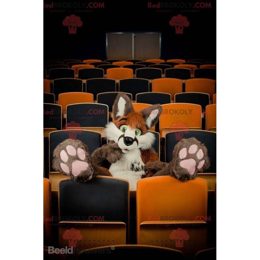 Hairy brown and white cat mascot - Redbrokoly.com