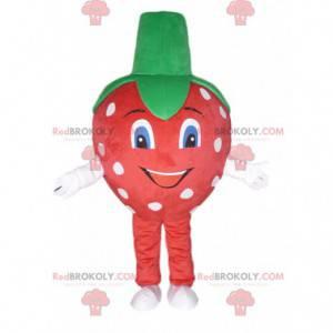 Czerwona truskawka maskotka w białe kropki, truskawkowy kostium