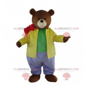 Teddy bear mascot in colorful outfit, teddy bear costume -
