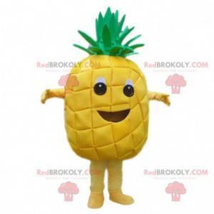 Obří žlutý ananasový maskot, ananasový kostým, exotické ovoce -