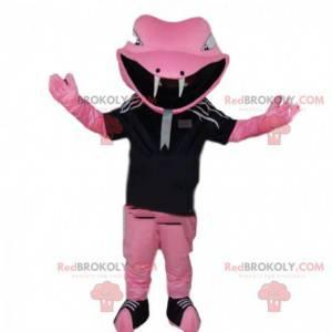 Růžový had maskot ve sportovním oblečení, hadí kostým -