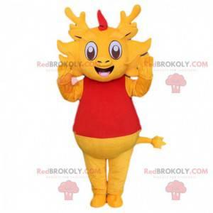 Gelbes Drachenmaskottchen, Axolotl-Kostüm, Salamander -