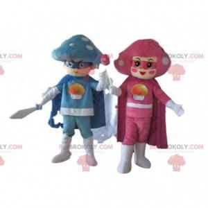 2 mushroom mascots, couple of colorful mushrooms -