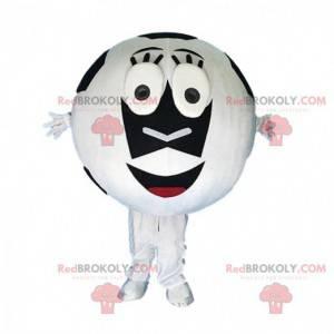 Maskot bílý a černý fotbalový míč, sportovní kostým -