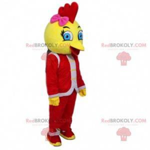 Maskot žlutého ptáka oblečený v červeném, kanárském kostýmu -
