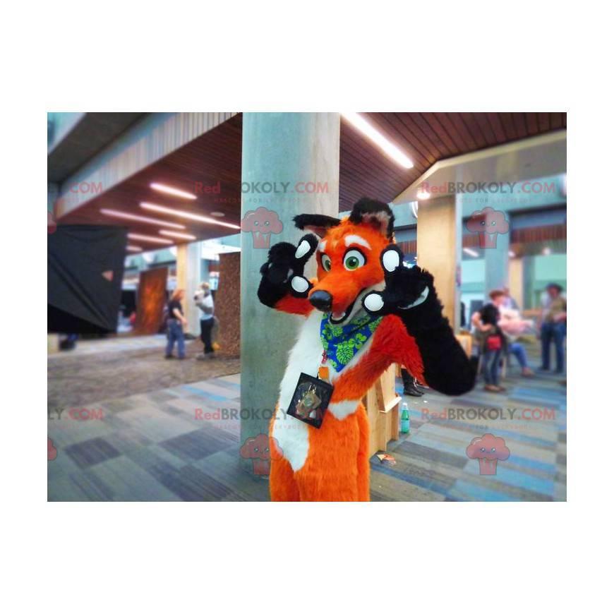 Schwarz-Weiß-Orange-Fuchs-Maskottchen - Redbrokoly.com