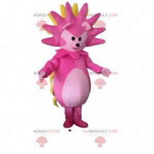 Mascota de erizo rosa, blanco y amarillo, disfraz de erizo -