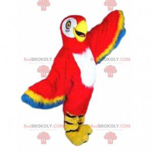 Red, yellow and blue parrot mascot, exotic bird - Redbrokoly.com