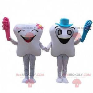 2 mascots of white teeth, couple of giant teeth - Redbrokoly.com