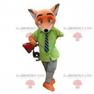 Maskot Nick Wilde, slavná oranžová liška v Zootopii -