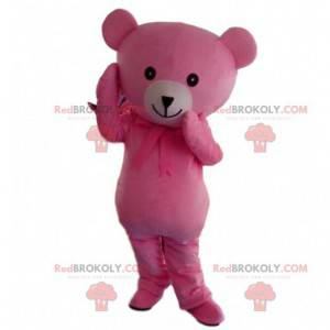 Pink and white teddy bear mascot, pink bear costume -