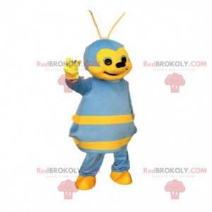 Blaues und gelbes Bienenmaskottchen, buntes Insektenkostüm -