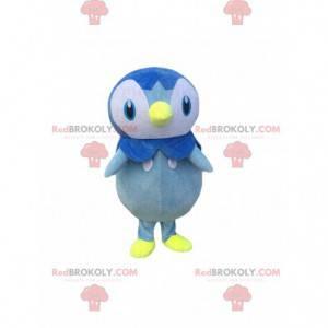 Niebiesko-biały pingwin maskotka, kolorowy kostium ptaka -