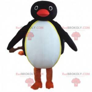 Maskot černobílý tučňák, baculatý a zábavný - Redbrokoly.com