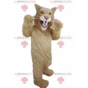 Béžový maskot puma, kočičí kostým divoce vypadající -
