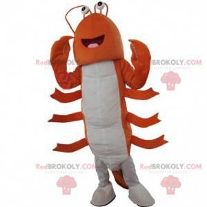 Mascote de lagosta laranja e branca, fantasia de lagosta