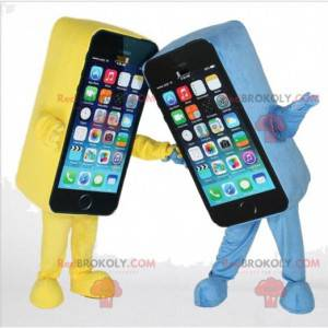 2 smartphone mascots one yellow and one blue, GSM costume -
