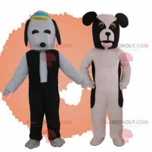 2 Hundemaskottchen, schwarz-weiße Hundekostüme - Redbrokoly.com