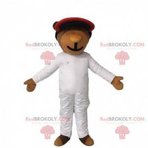 Bear mascot in jumpsuit, futuristic bear costume -