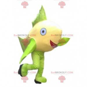 Żółta i zielona ryba maskotka, gigantyczny kostium ryby -