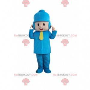 Kleines Jungenmaskottchen gekleidet in Winterkleidung -