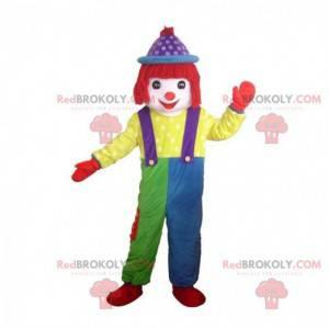 Mascotte pagliaccio multicolore, spettacoli in costume -