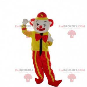 Mascota payaso amarillo y rojo, mascota de circo -