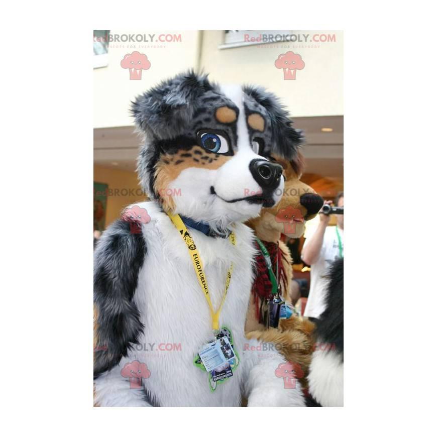 Gray brown and white dog mascot - Redbrokoly.com