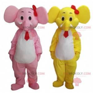 2 Elefantenmaskottchen, ein gelbes und ein rosa. 2 Elefanten -