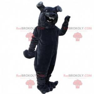 Gray bulldog mascot looking fierce, wicked dog costume -