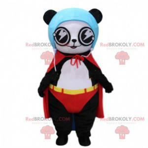 Panda maskot kledd som en superhelt, bjørnekostyme -