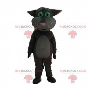 Grå kattmaskot ser rørende, fortryllende kostyme ut -