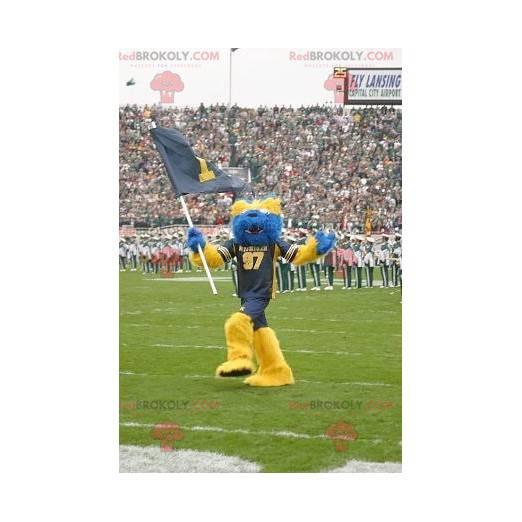 Modrý a žlutý medvěd maskot všechny chlupaté - Redbrokoly.com