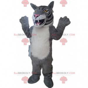 Mascot gray and white tiger, lion costume, feline -
