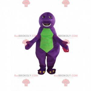 Lilla og grønn dinosaur maskot, lubben og morsom -