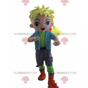 Blond boy mascot, young man costume - Redbrokoly.com
